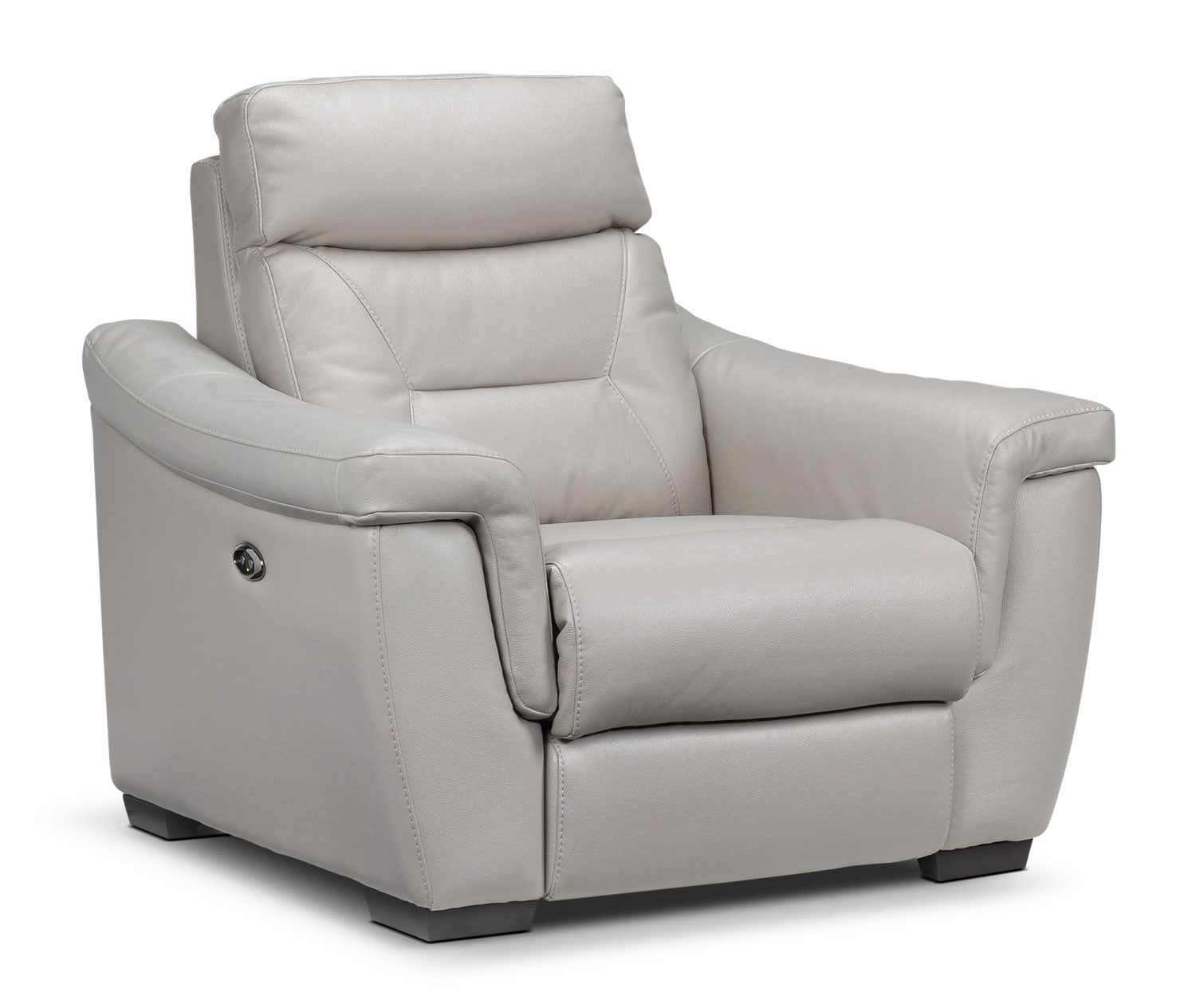 Living Room Furniture - Ralston Power Recliner - Silver-Grey