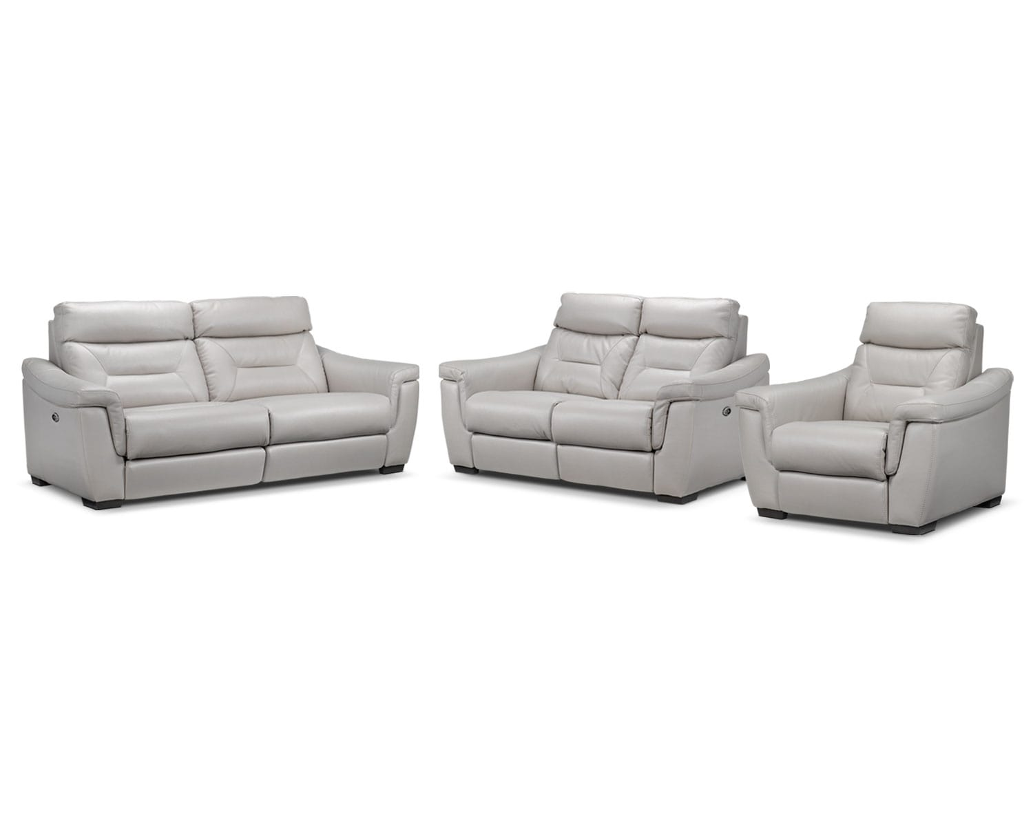 Ralston Power Reclining Sofa, Power Reclining Loveseat and Power Recliner Set - Silver-Grey