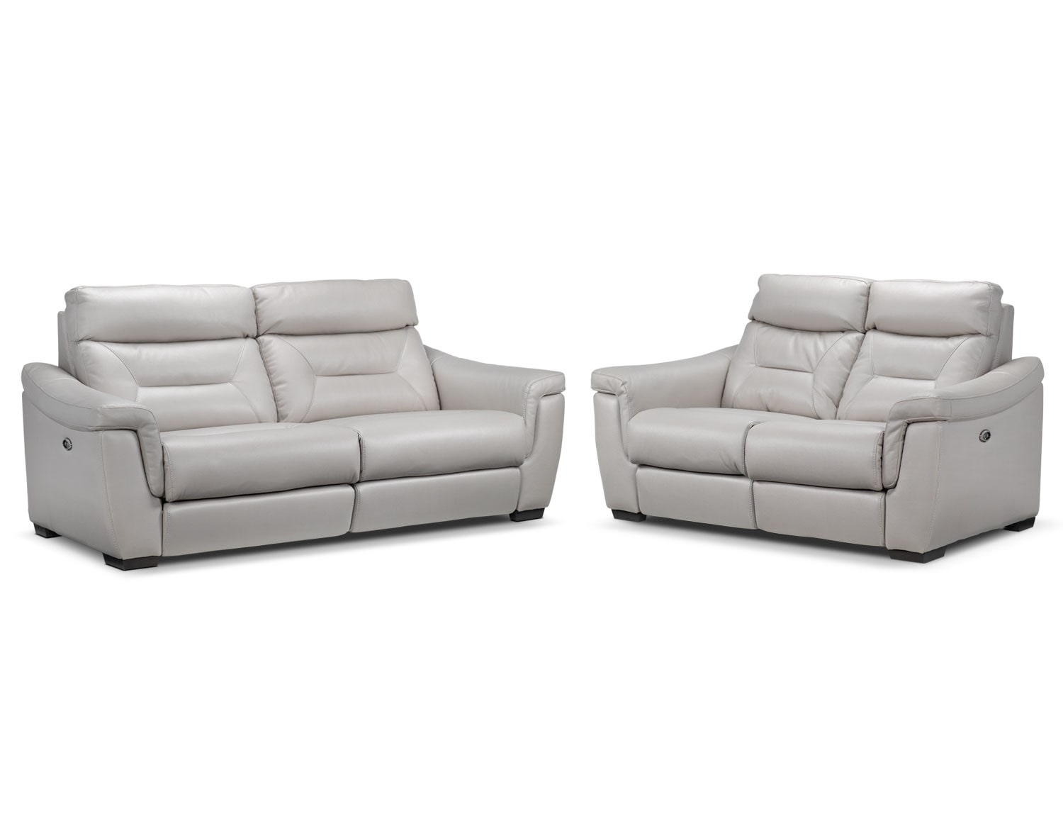Ralston Power Reclining Sofa and Power Reclining Loveseat Set - Silver-Grey