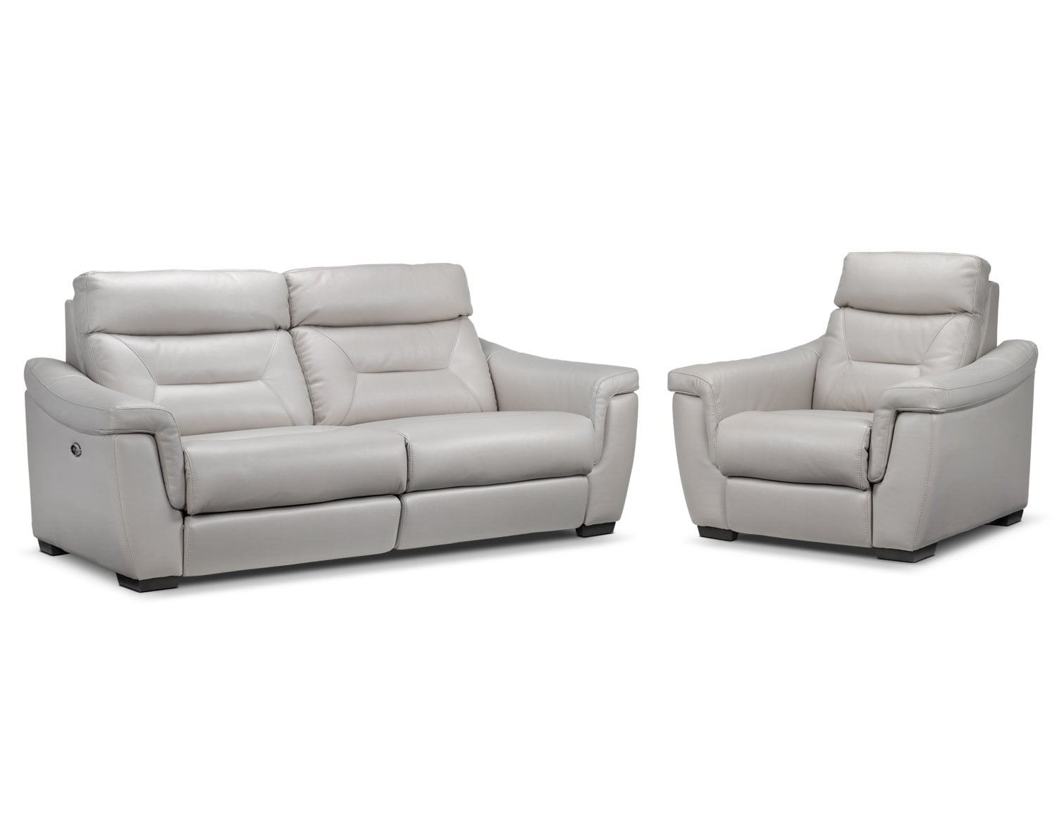Ralston Power Reclining Sofa and Power Recliner Set- Silver-Grey