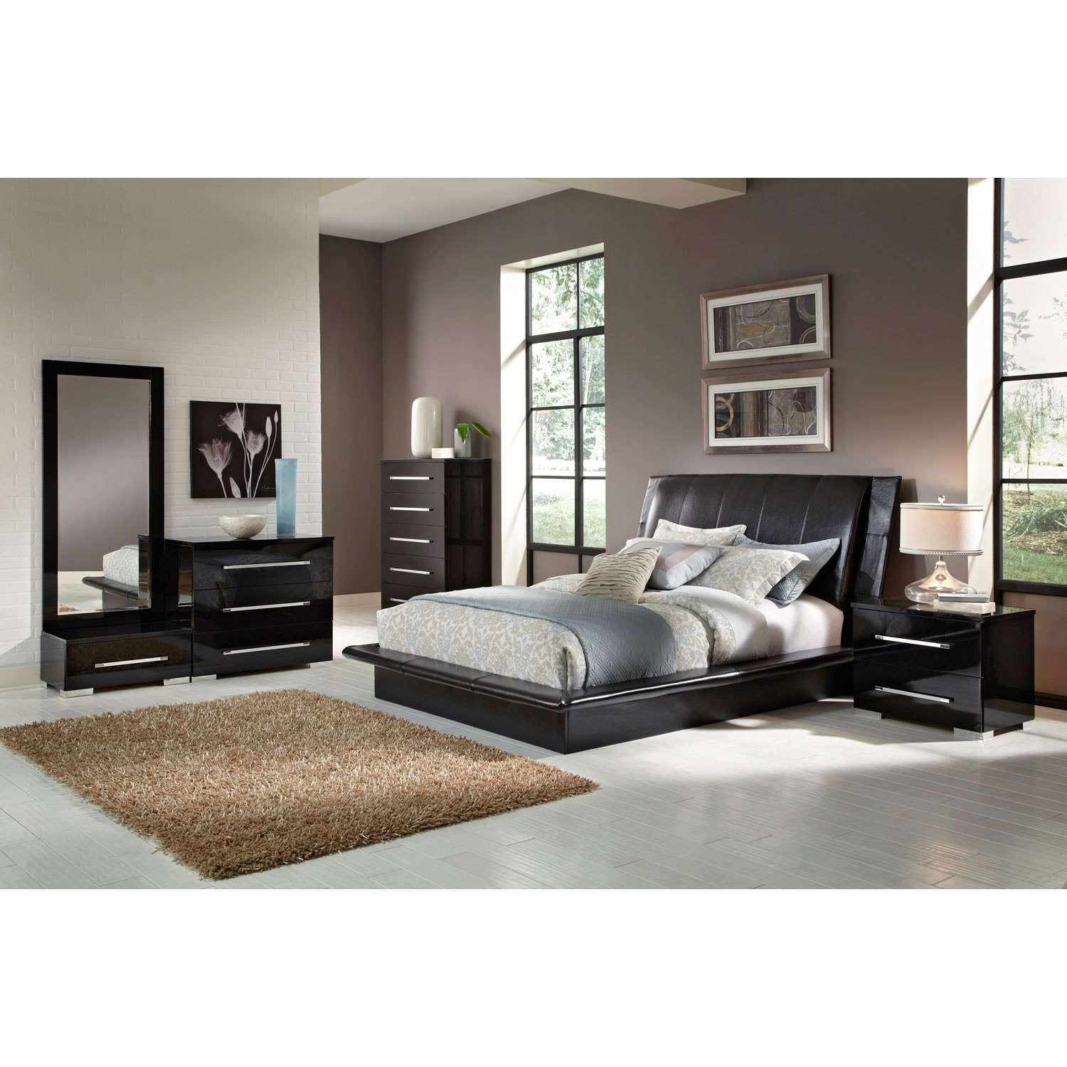 Dimora 7 piece queen upholstered bedroom set black - Black queen bedroom furniture set ...