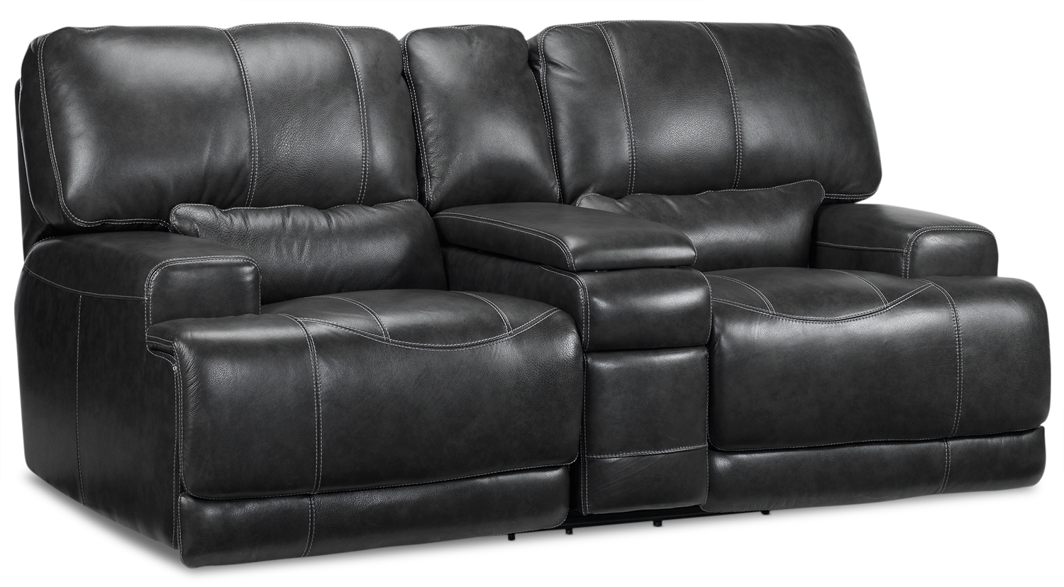 Dearborn Power Reclining Loveseat with Console - Charcoal