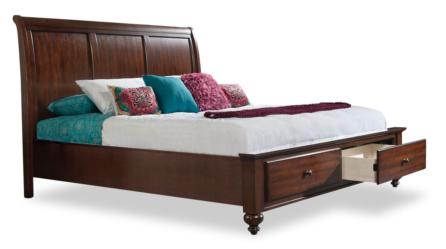Kennedy Queen Sleigh Bed with Storage Footboard