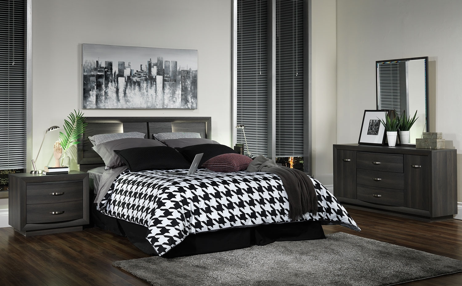 Bedroom Furniture - Gerard 4-Piece Queen Bedroom Set - Deep Grey