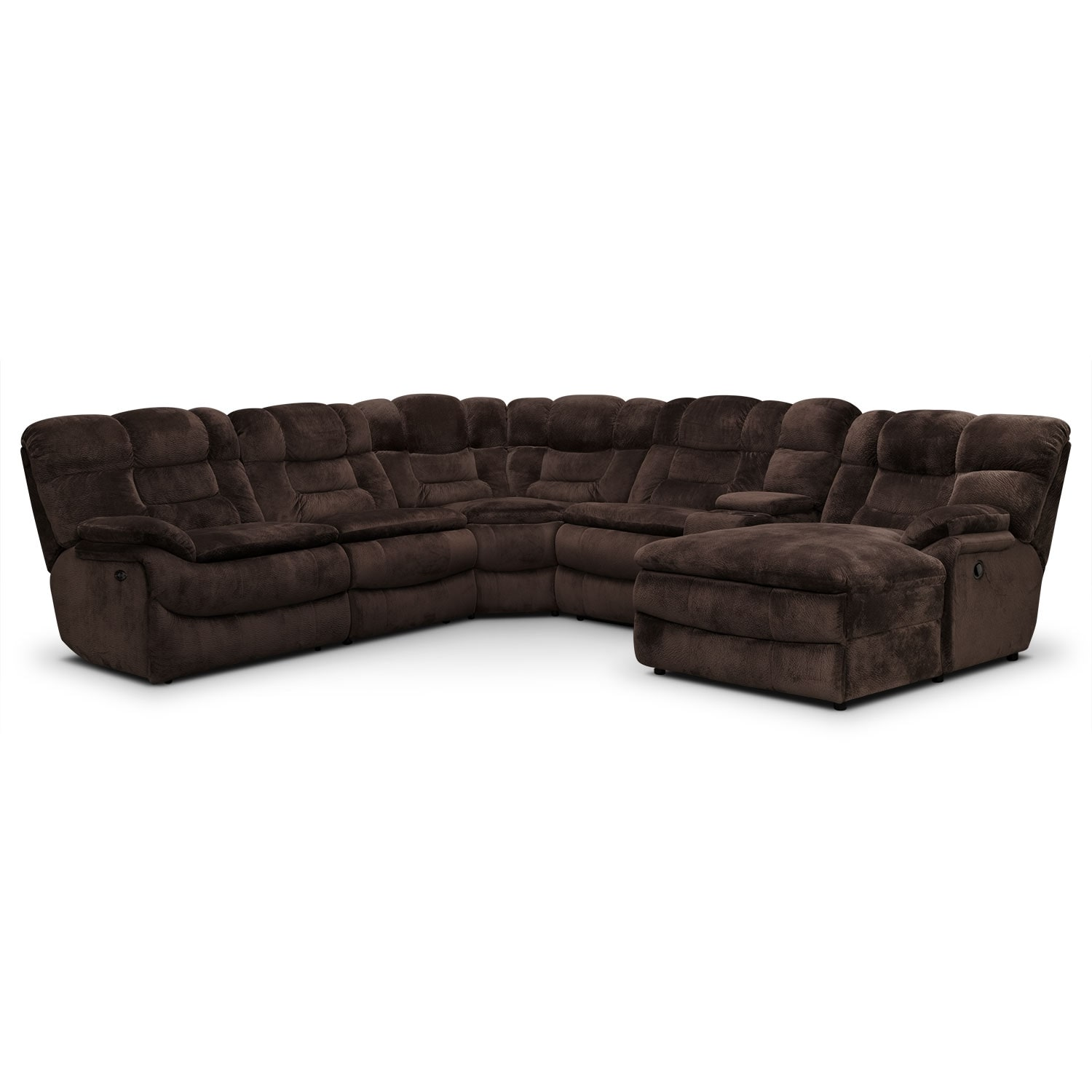 Big softie 6 piece power reclining sectional with right for Brown sectional with chaise