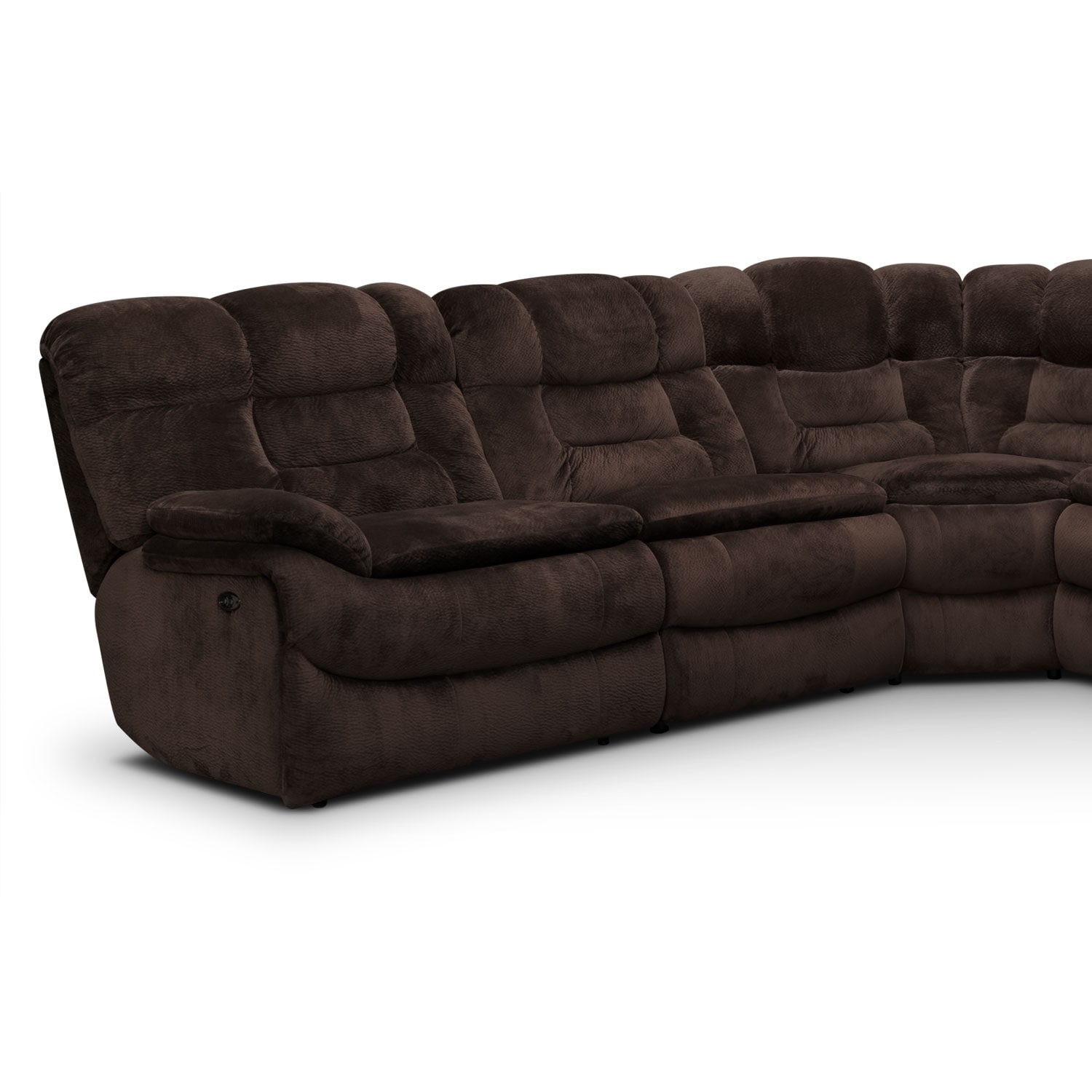 Big softie 6 pc power reclining sectional value city for Sectional sofas with 4 recliners