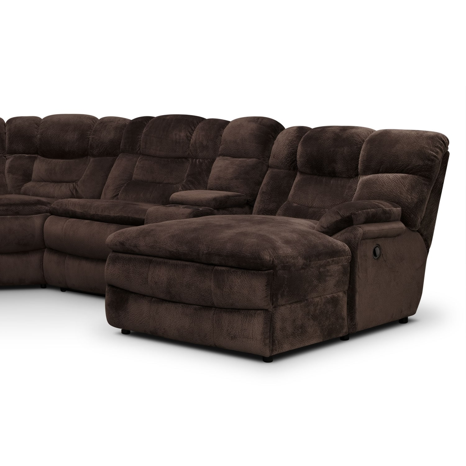 Big softie 6 piece power reclining sectional with right for Sectional sofa with bed and recliner