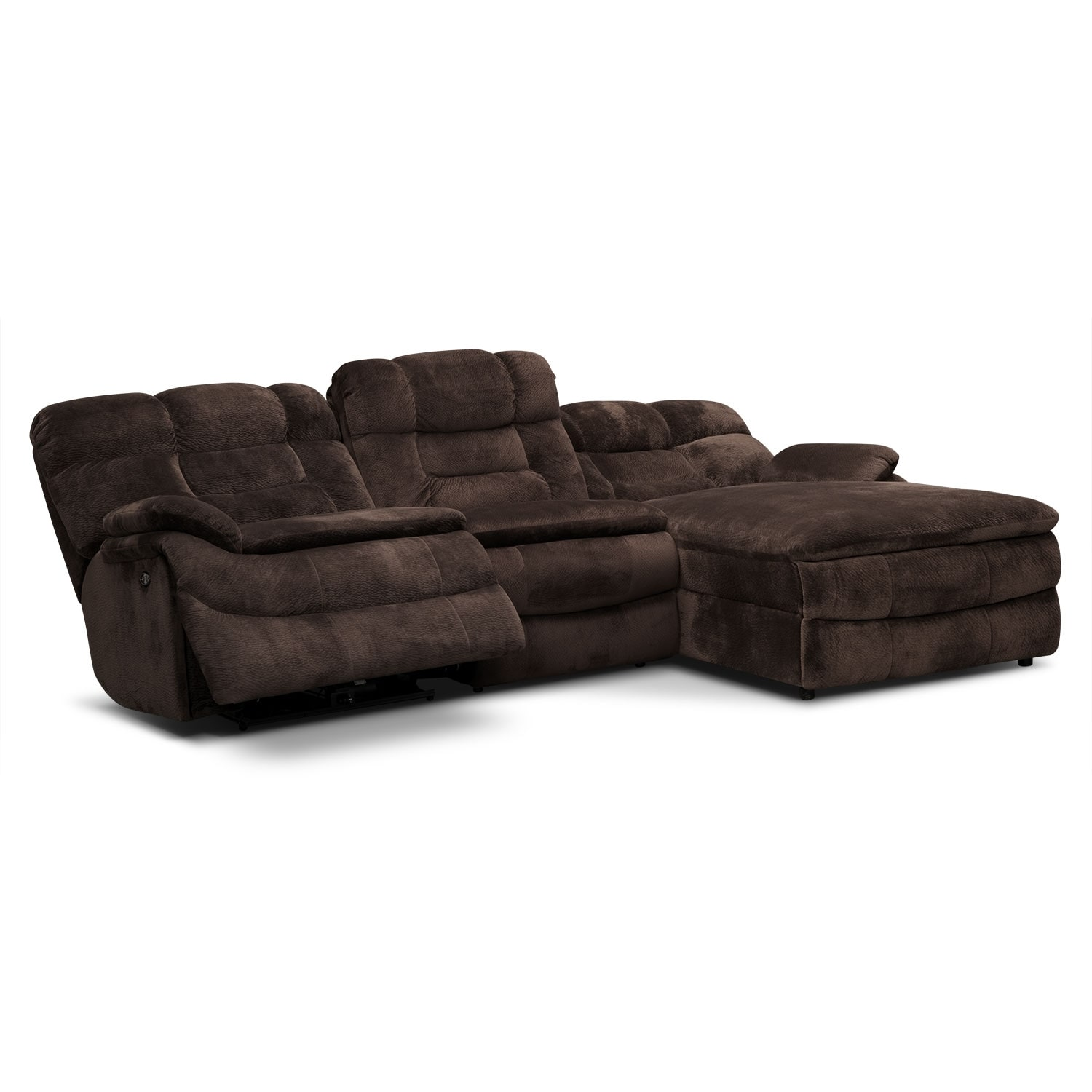 Big softie 3 piece power reclining sectional with right for 3 piece sectional with chaise