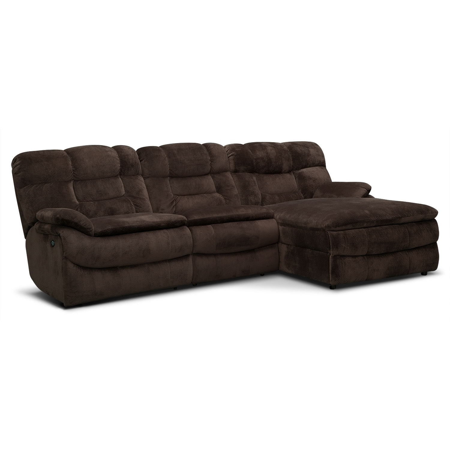 Big softie 3 piece power reclining sectional with right for Brown sectional sofa with chaise
