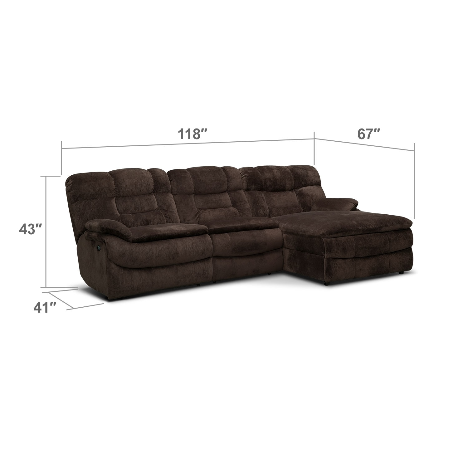 Big softie 3 piece power reclining sectional with right for 3pc sectional with chaise