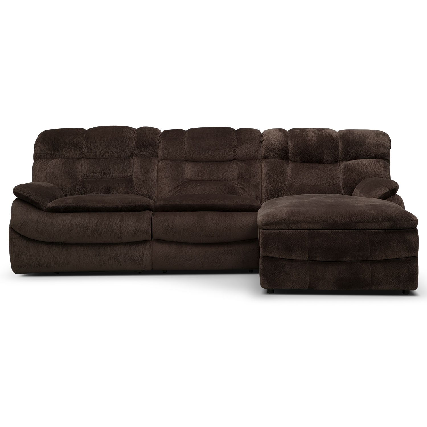 Big softie 3 piece power reclining sectional with right for 3 piece sectional sofa with chaise