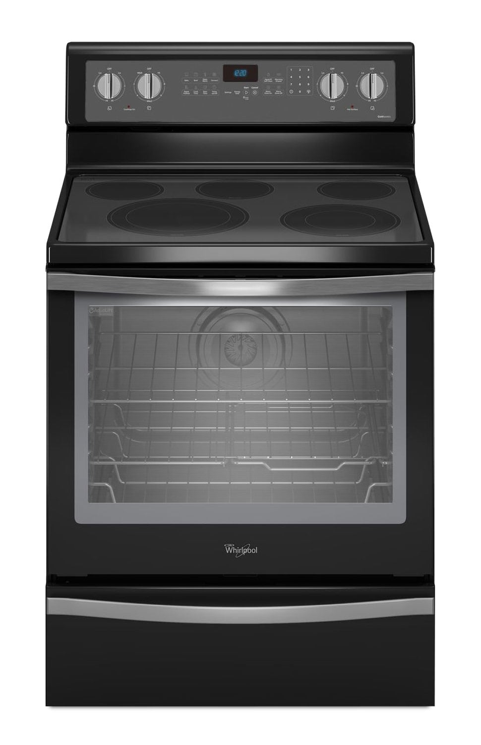 [Whirlpool Black Freestanding Electric Convection Range (6.4 Cu. Ft.) - YWFE715H0EE]