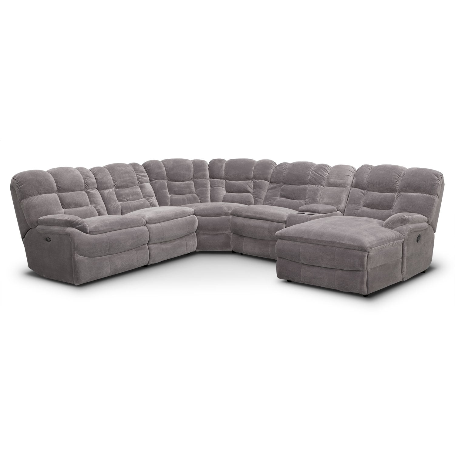 big softie 6 piece power reclining sectional with right facing chaise gray value city furniture. Black Bedroom Furniture Sets. Home Design Ideas