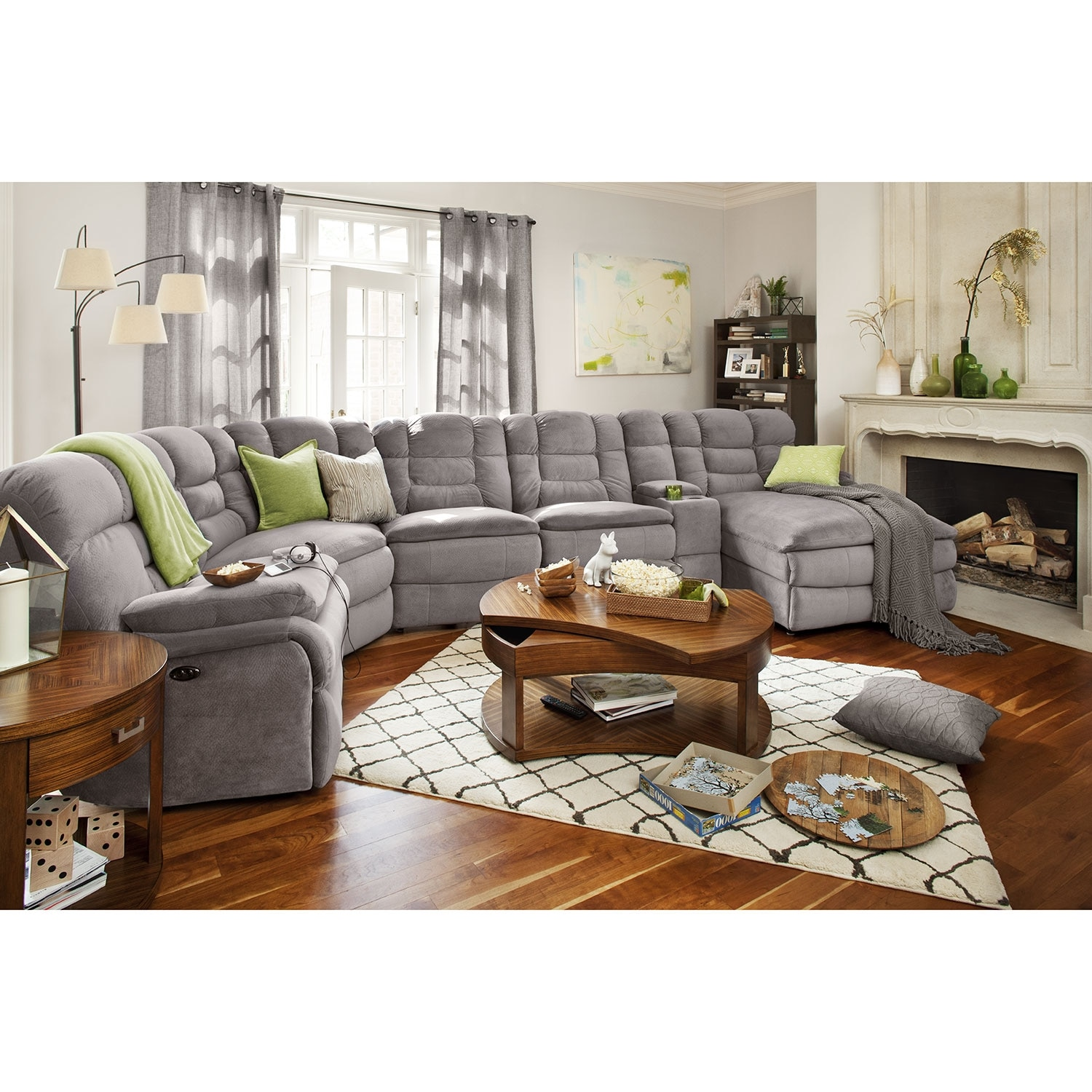 Big softie ii 6 pc power reclining sectional value city for Living room furniture pieces