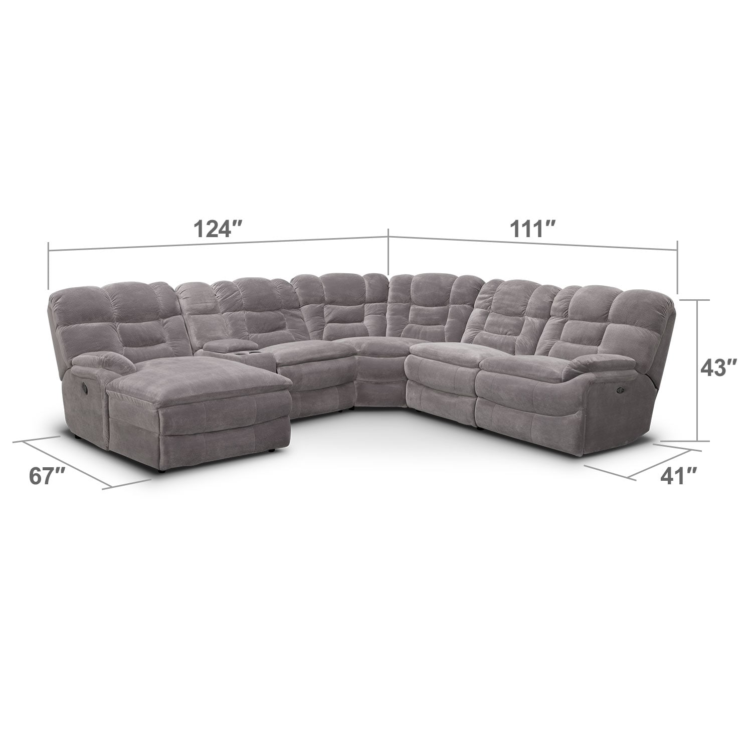 Big Softie 6 Piece Power Reclining Sectional with Left