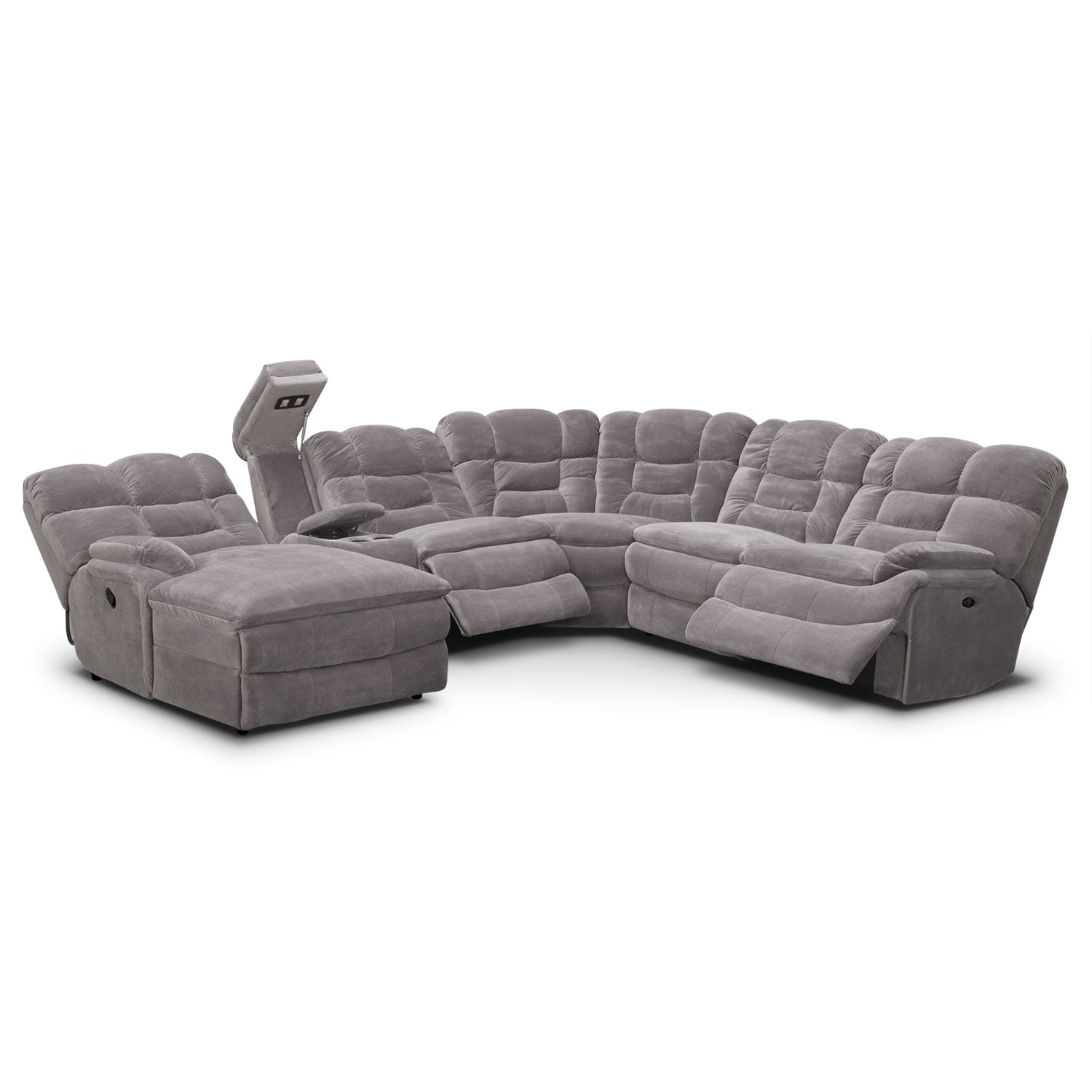 Big softie ii 6 pc power reclining sectional reverse for Sectional sofas with 4 recliners