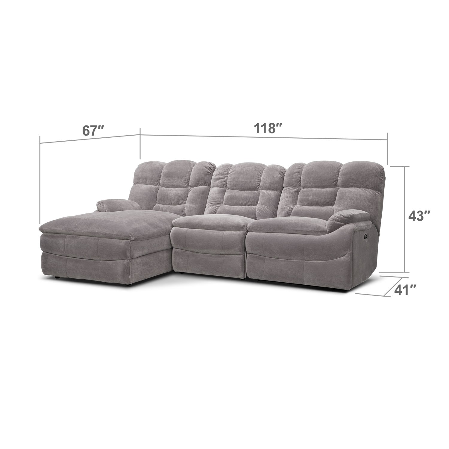 Big Softie 3 Piece Power Reclining Sectional With Left