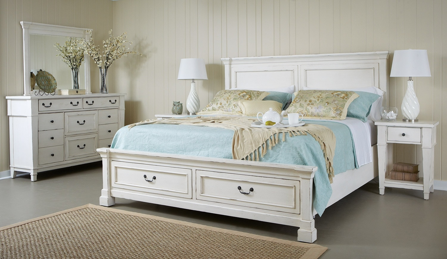 Bedroom Furniture - Stoney Creek 5-Piece King Storage Bedroom Package - White