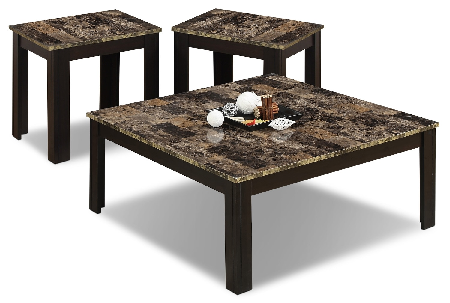 Naples 3 piece coffee and two end tables package the brick for Coffee tables 3 piece