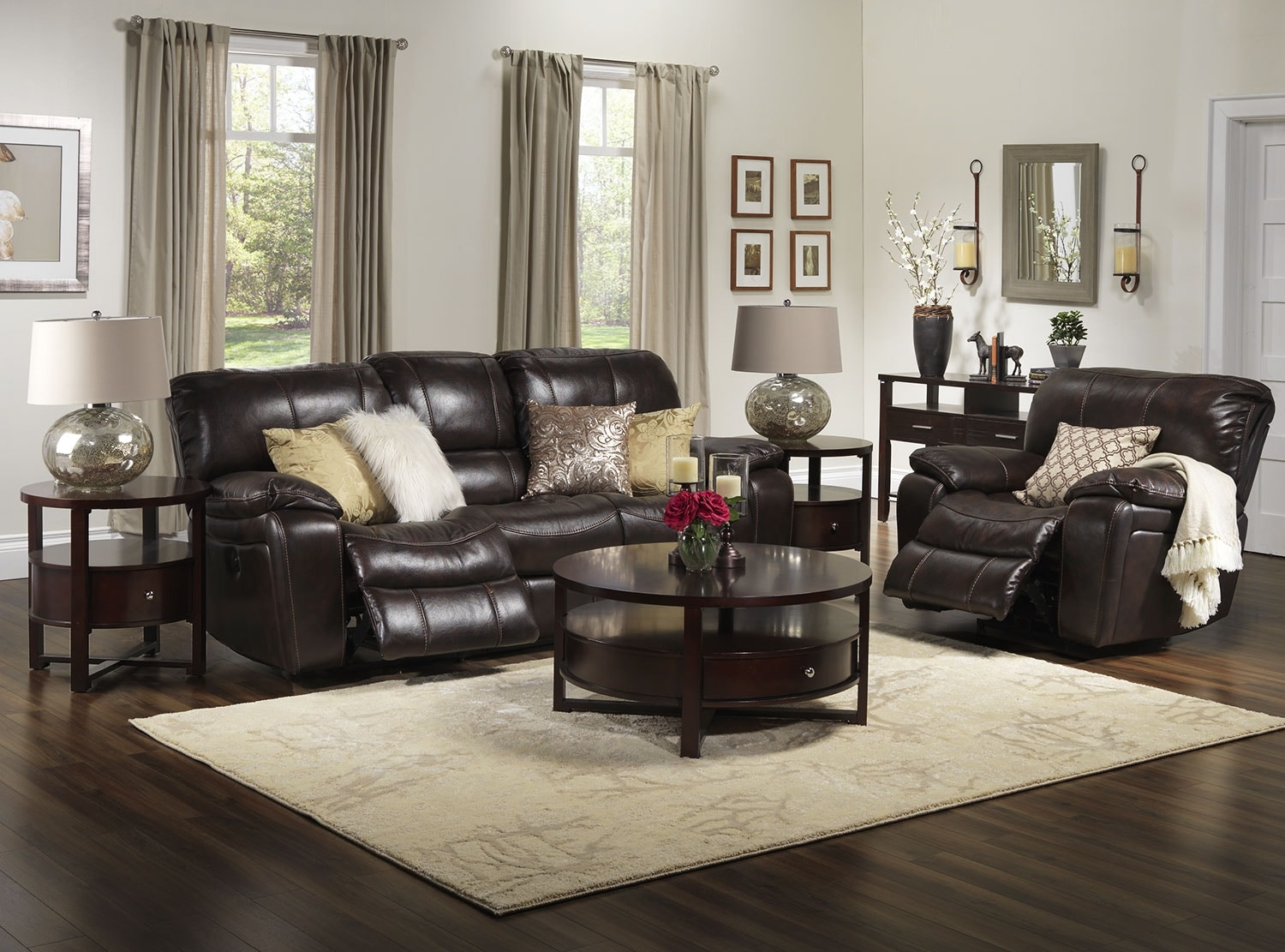 Walnut Living Room Furniture Santorini Power Reclining Sofa Walnut Leons