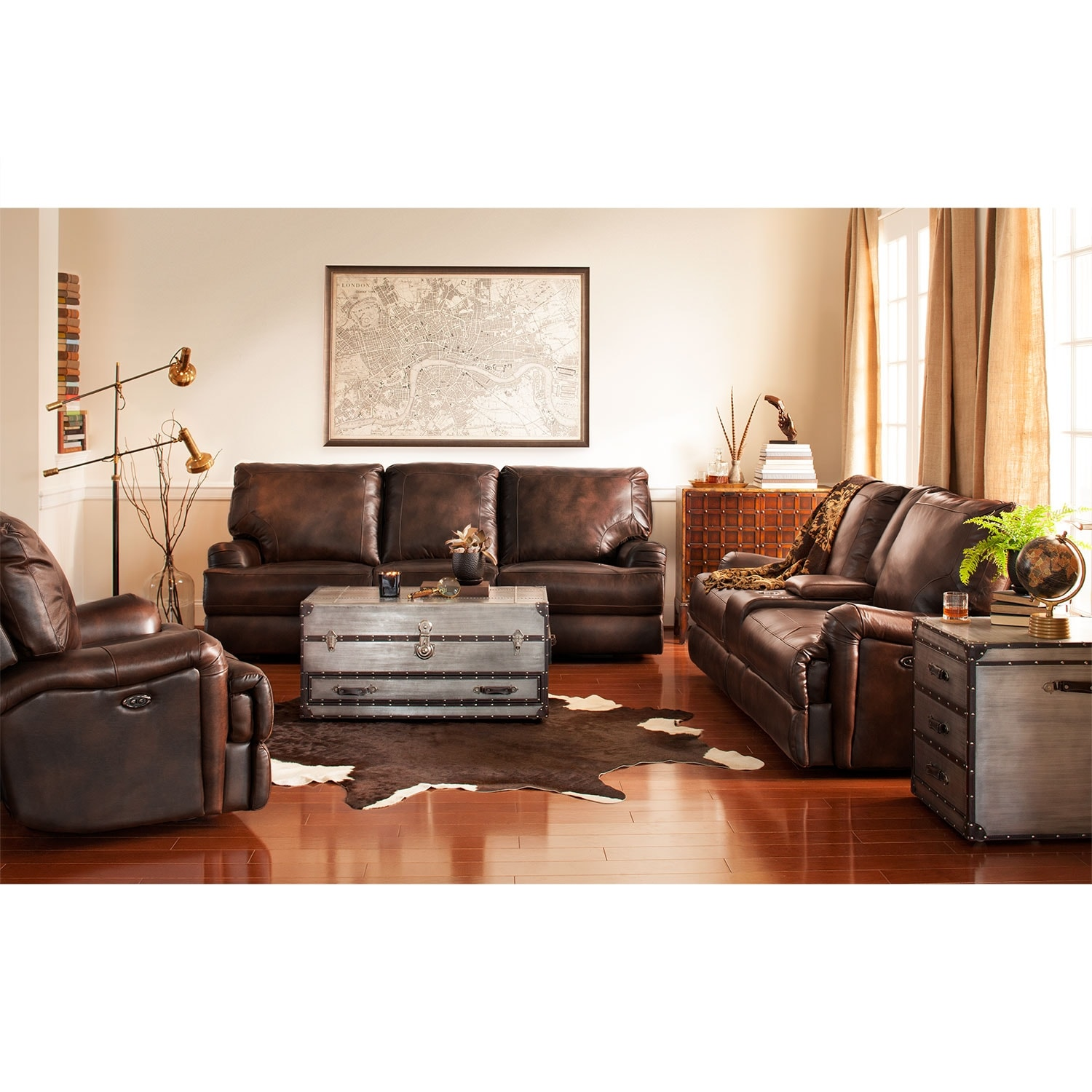 Kingsway Power Reclining Sofa Brown Value City Furniture