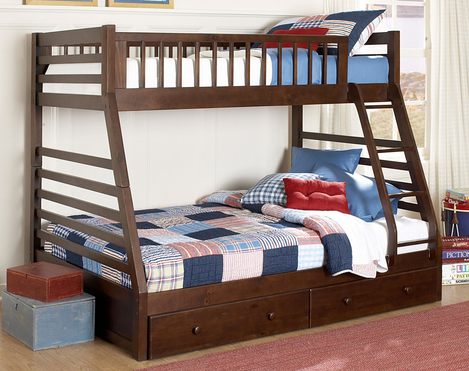 Starship bunk bed set chocolate cherry leon 39 s for Bed sets with mattress