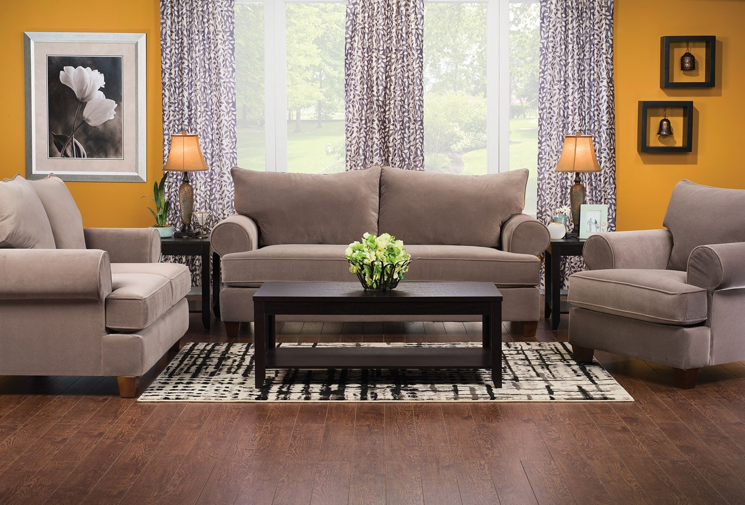 Paige Microsuede Loveseat Stone United Furniture Warehouse