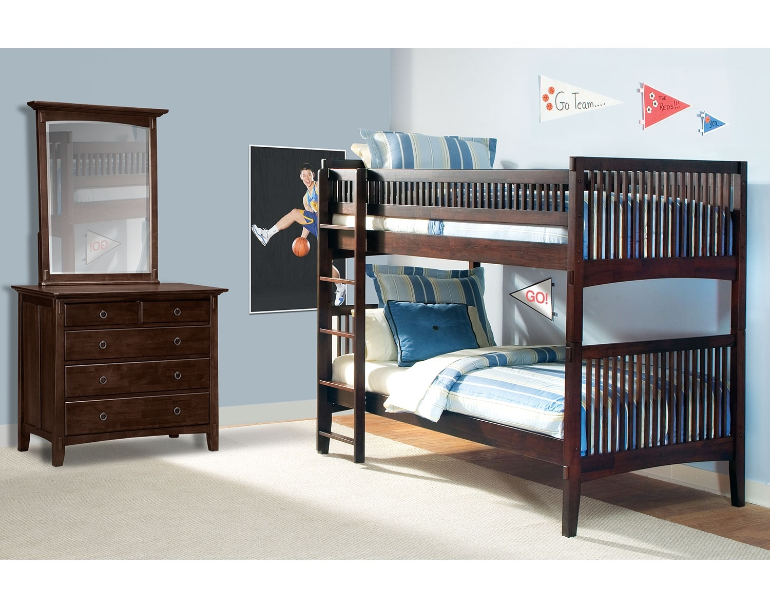 Kids Furniture - The Wentworth III Dark Collection - Twin Bunk Bed