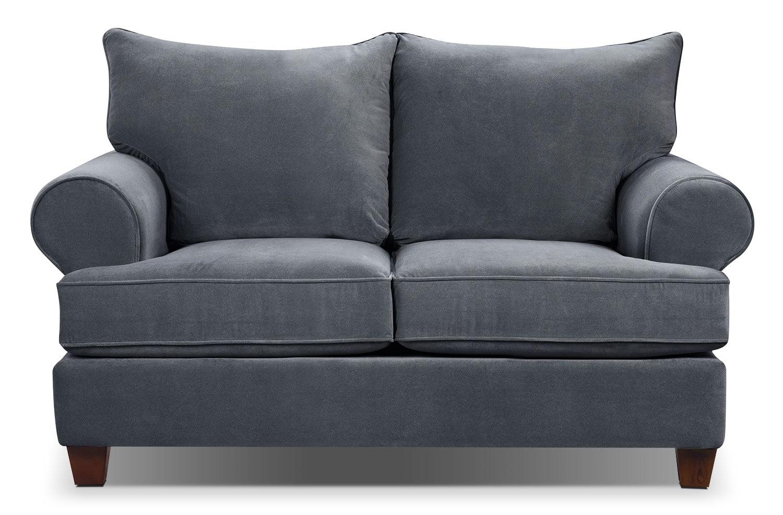 Living Room Furniture - Paige Microsuede Loveseat - Grey