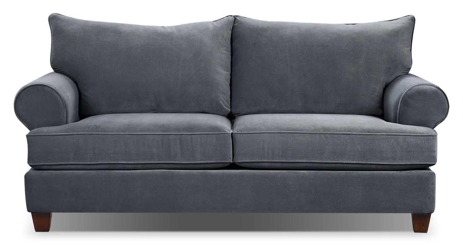 Living Room Furniture - Paige Microsuede Sofa - Grey