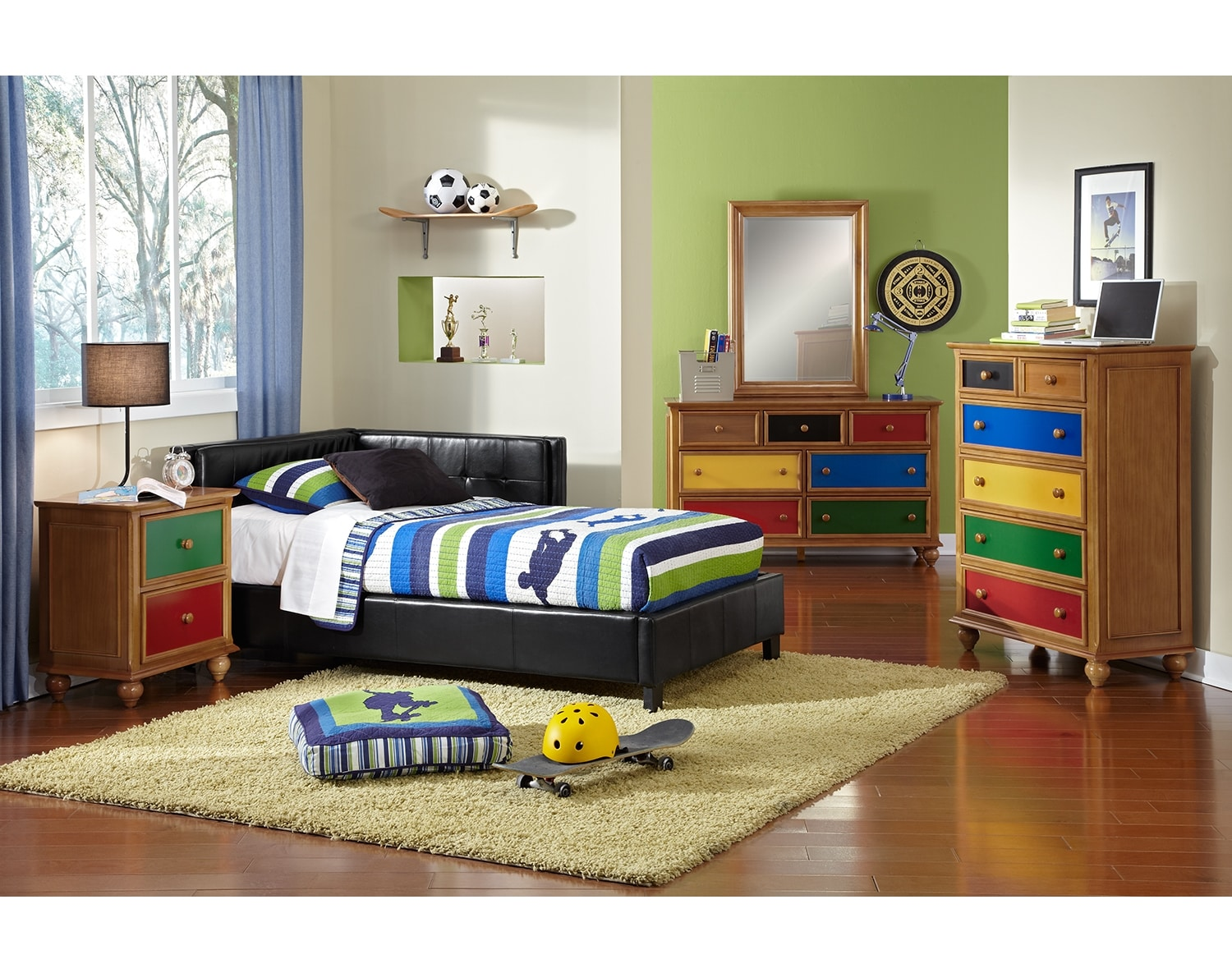 Kids Furniture - The Taylor Black Collection - Twin Corner Bed