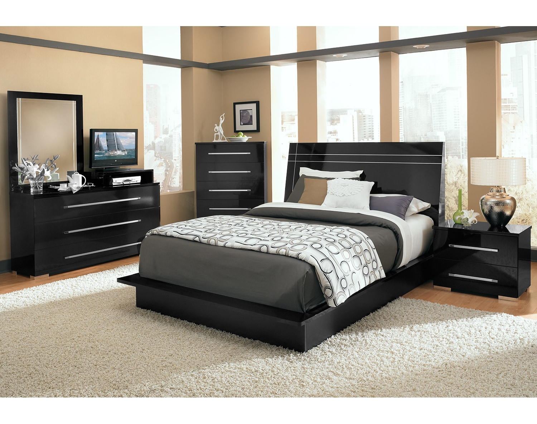 Bedroom Furniture - The Prima II Black Collection - Queen Bed