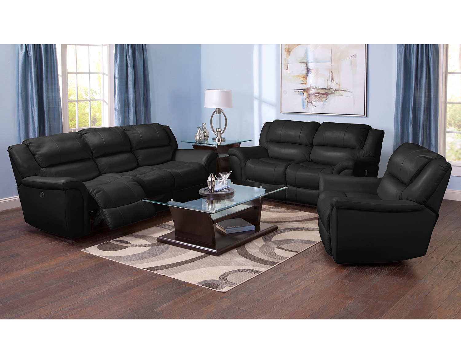 Living Room Furniture - The Brisbane Black Collection - Power Reclining Sofa