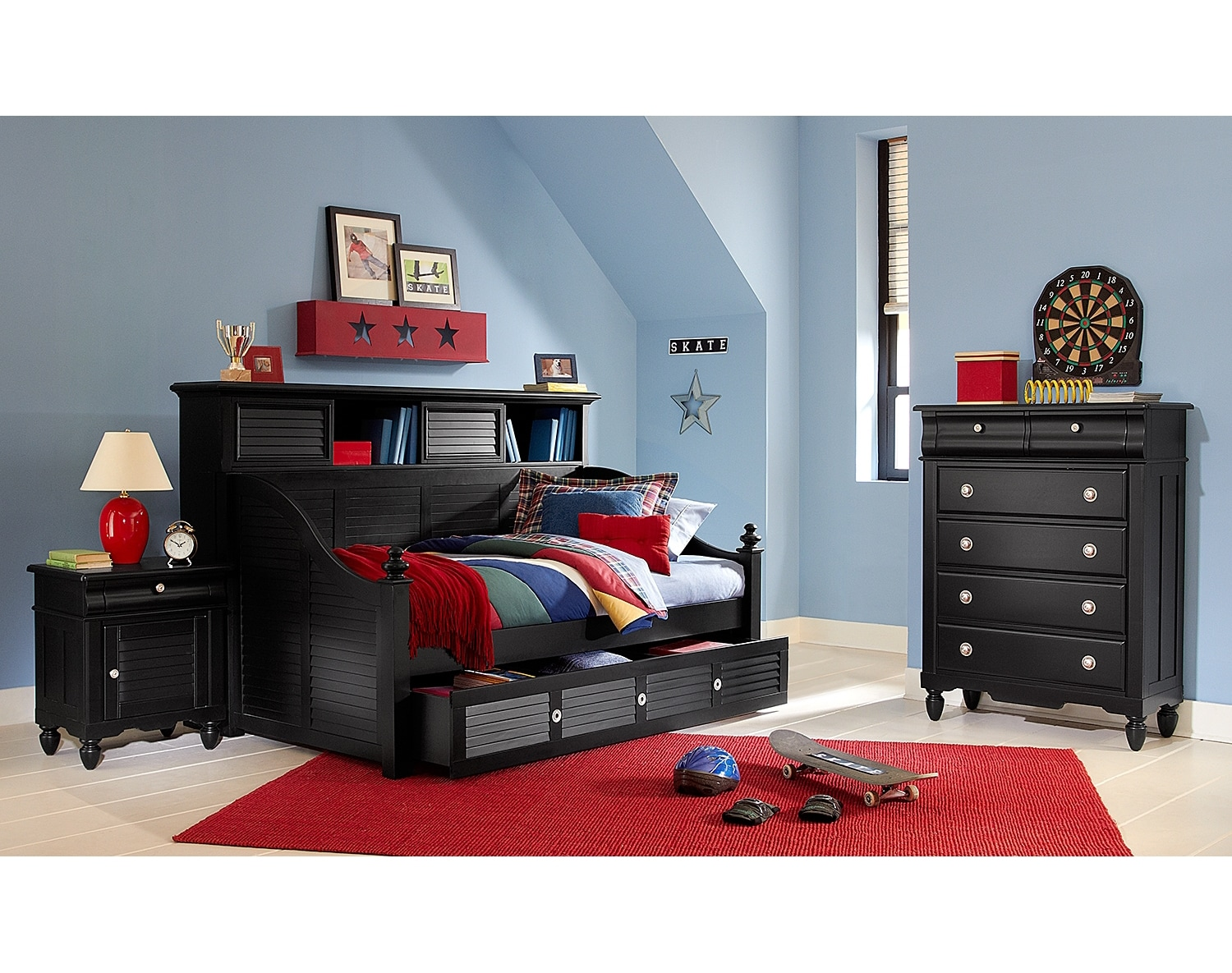 Kids Furniture - The Mayflower II Black Collection - Bookcase Daybed with Trundle
