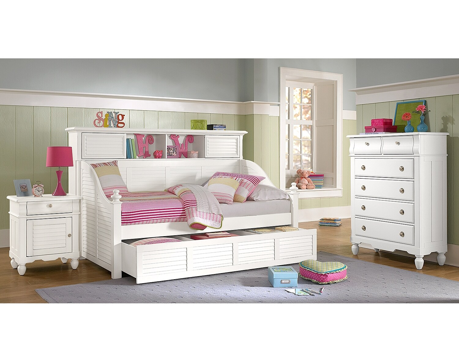 Kids Furniture - The Mayflower II White Collection - Bookcase Daybed with Trundle