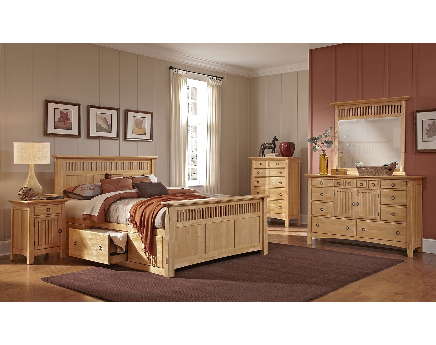 Bedroom Furniture - The Wentworth Light Storage Collection - Queen Storage Bed