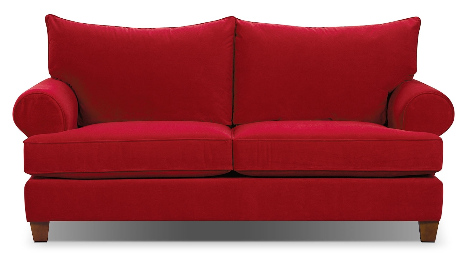 Red suede sofa red sofas couches fabric microfiber more thesofa Red sofas and loveseats