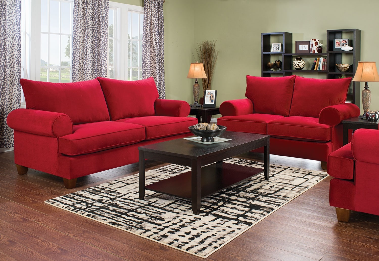 Red Living Room Furniture Paige Microsuede Sofa Red The Brick
