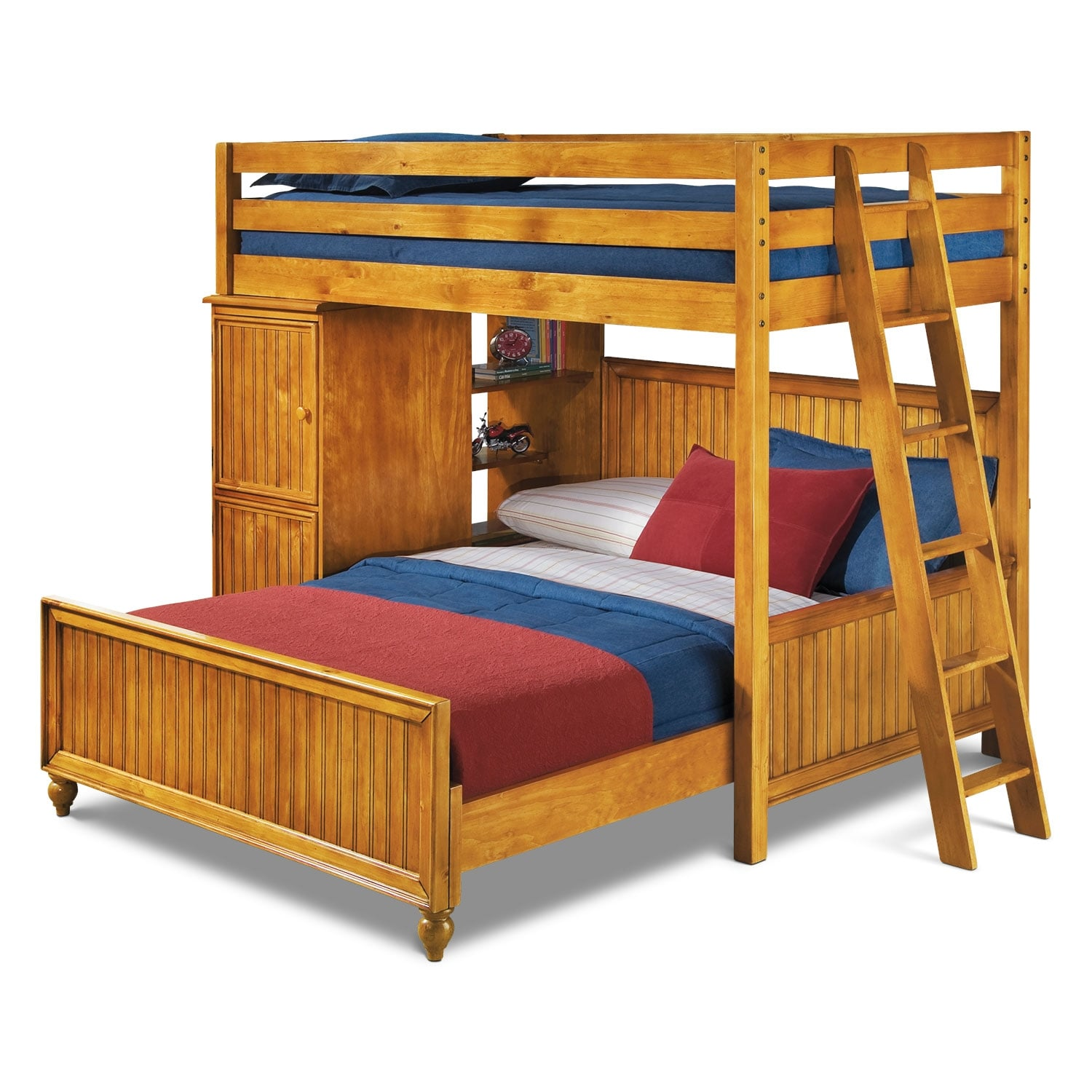 Colorworks loft bed with full bed honey pine value for Youth furniture