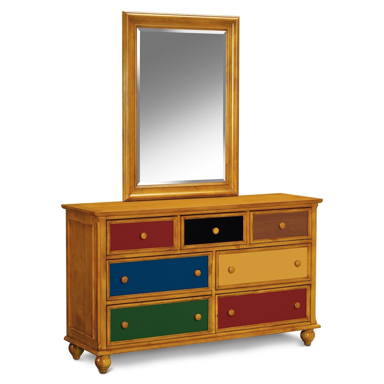 Colorworks Pine Dresser Mirror Value City Furniture