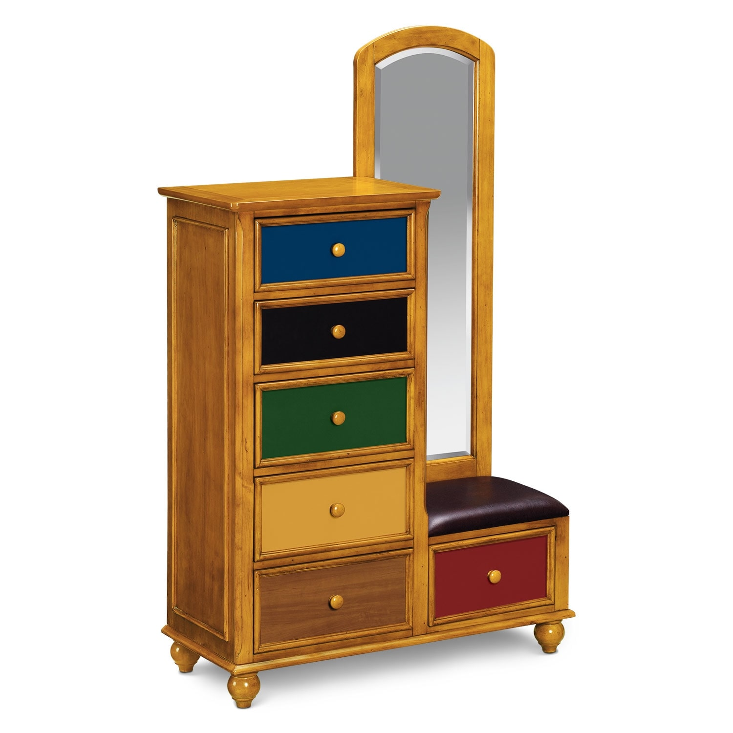 Colorworks Tall Chest And Mirror Honey Pine American
