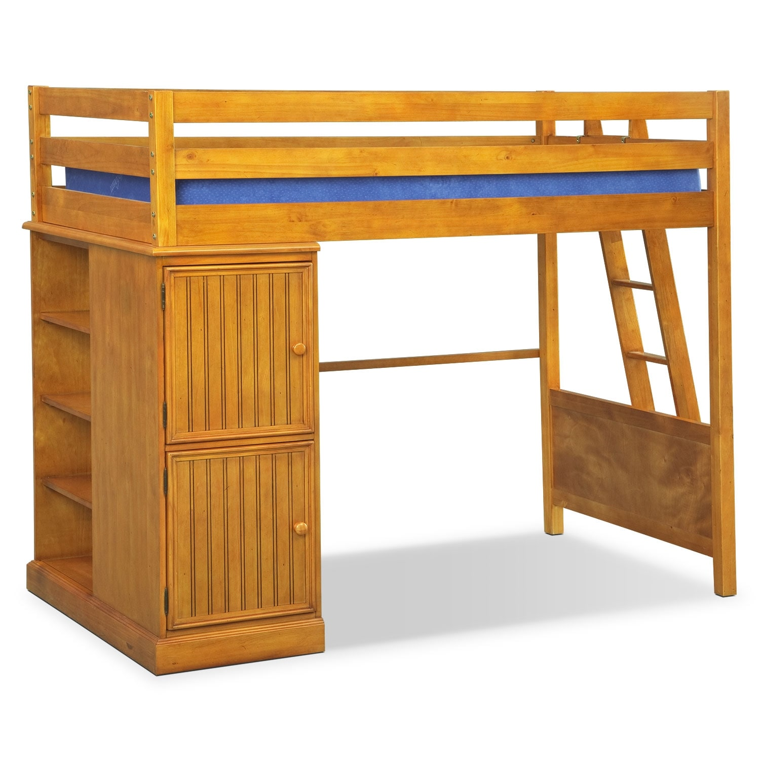 Colorworks loft bed with full bed honey pine value for Loft furniture