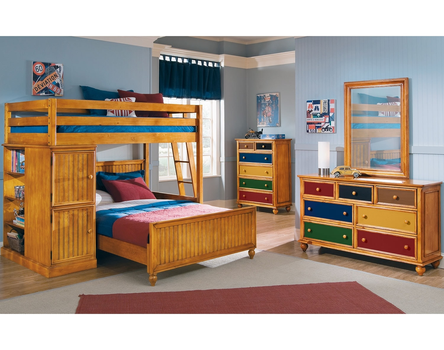 Kids Furniture - The Riley II Pine Collection - Loft Bed with Full Bed