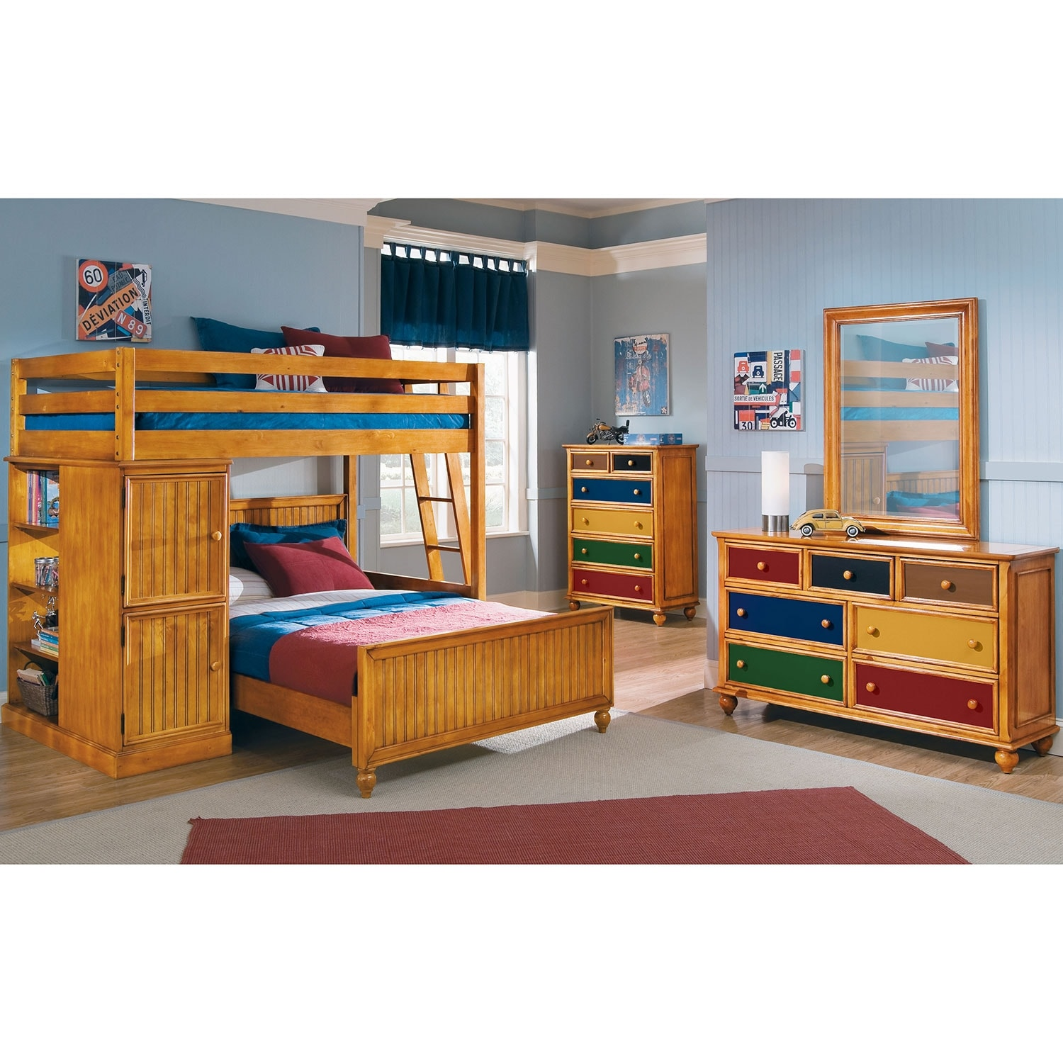 Colorworks loft bed with full bed honey pine american for Loft americain