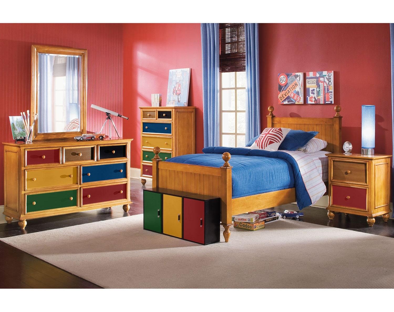 Kids Furniture - The Riley Pine Collection - Dresser & Mirror