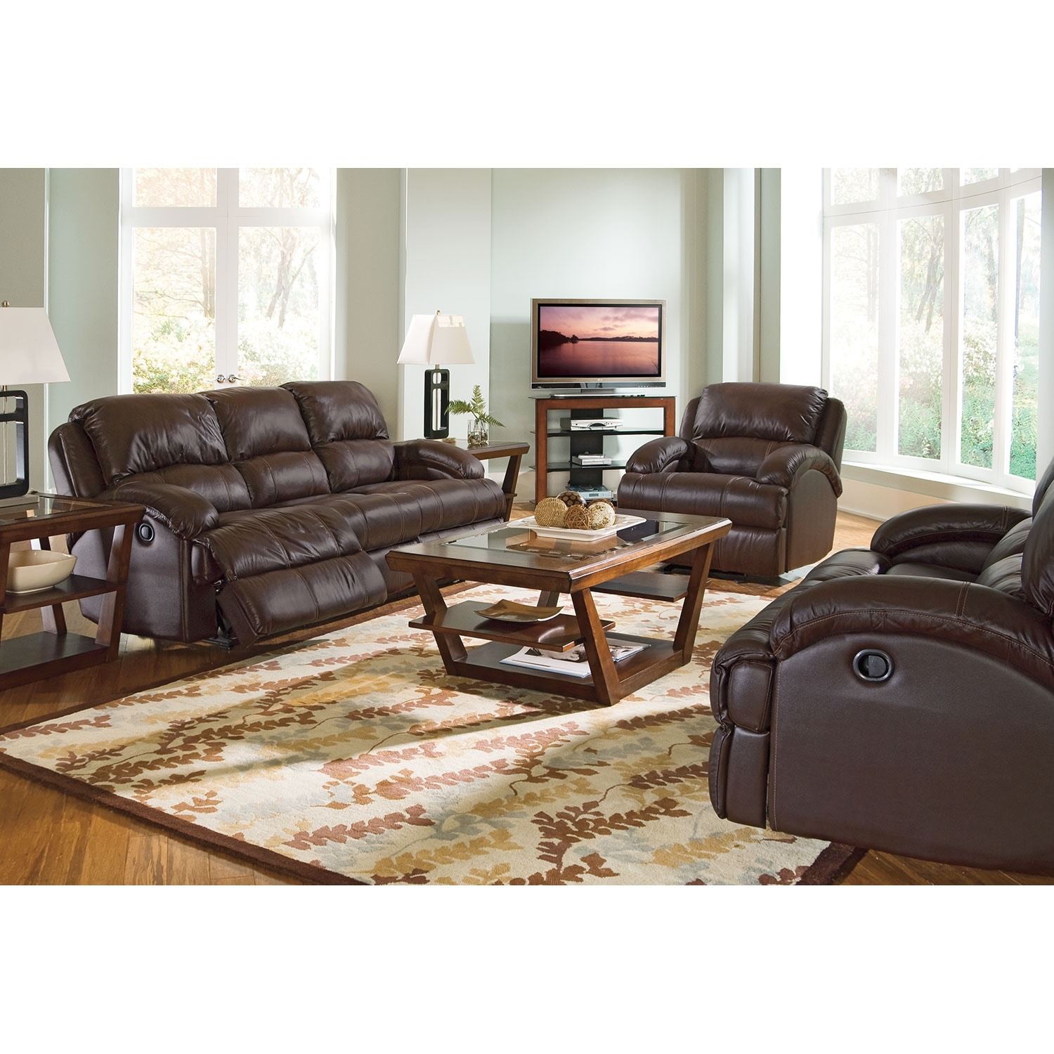 Nolan Dual Reclining Sofa - Chocolate | American Signature Furniture