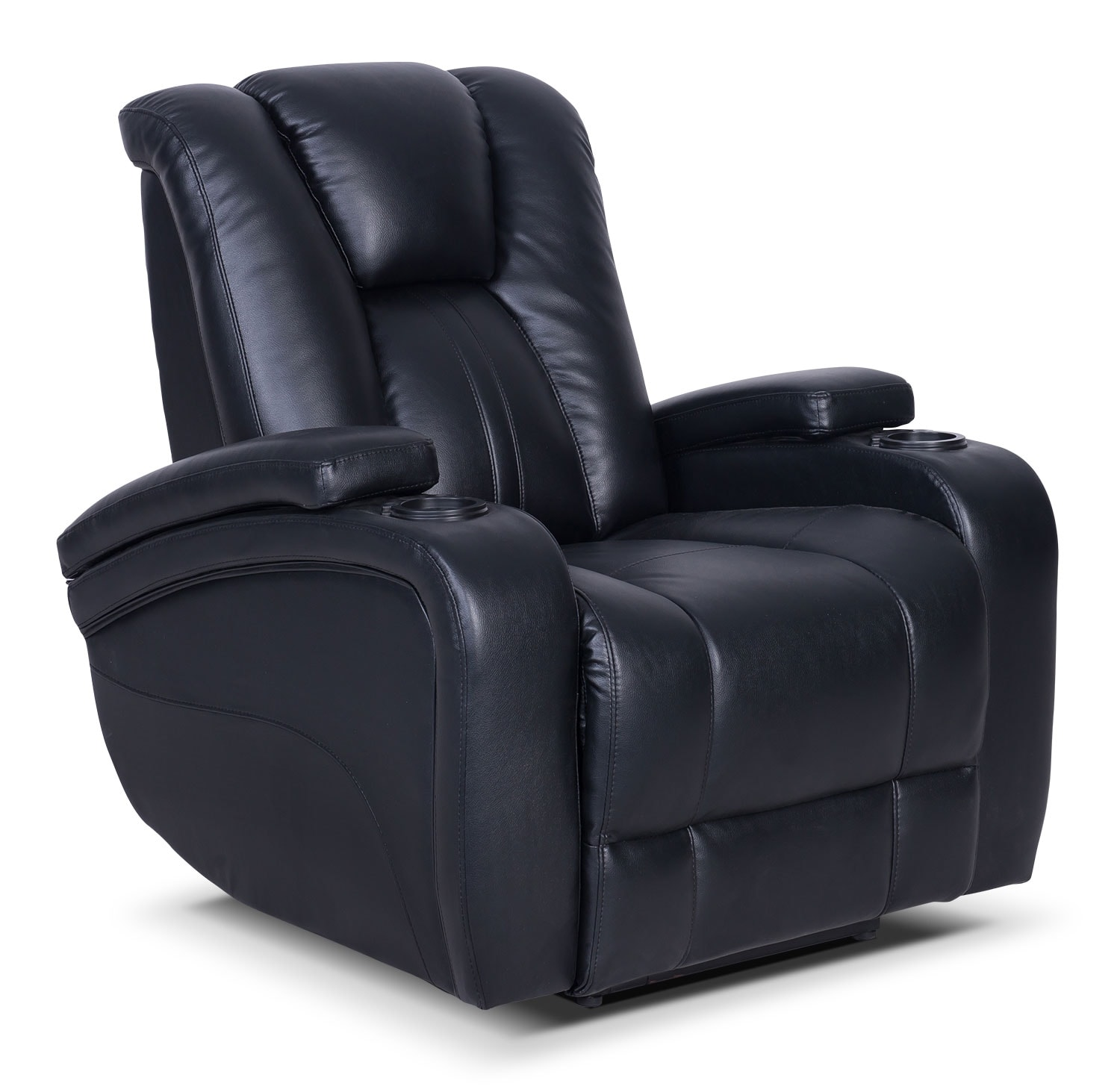 Living Room Furniture - Zander Bonded Leather Power Reclining Chair - Black