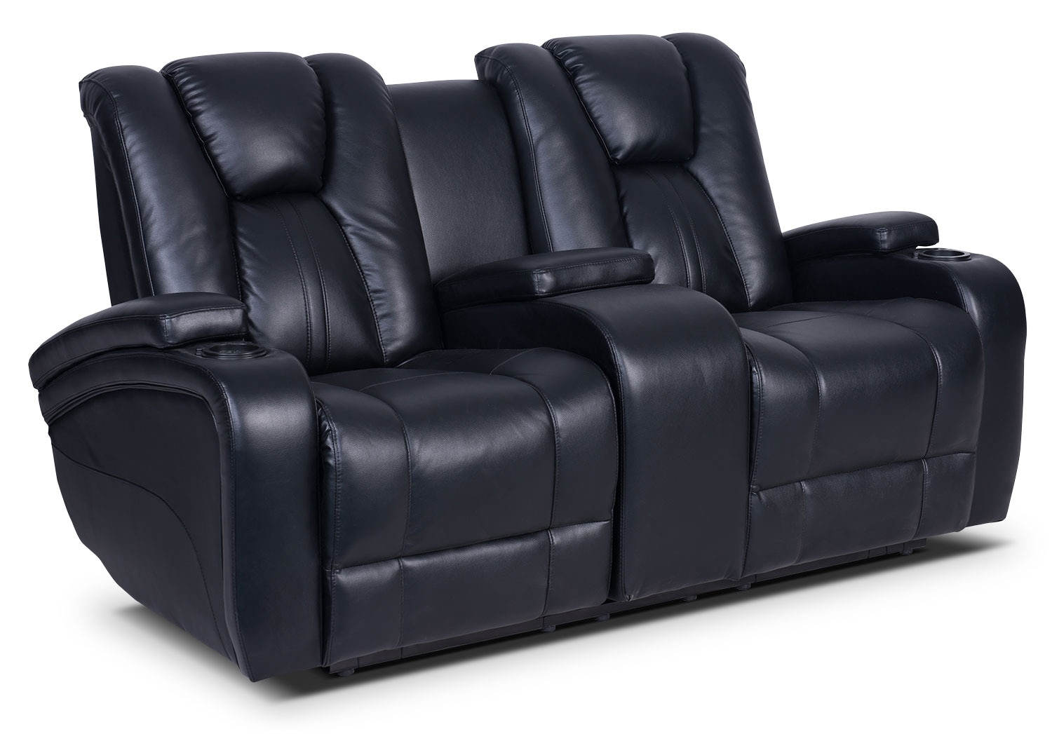 Living Room Furniture - Zander Bonded Leather Power Reclining Loveseat - Black