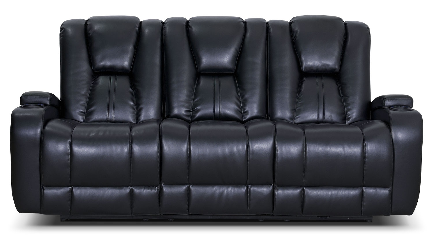 Living Room Furniture - Zander Bonded Leather Power Reclining Sofa - Black