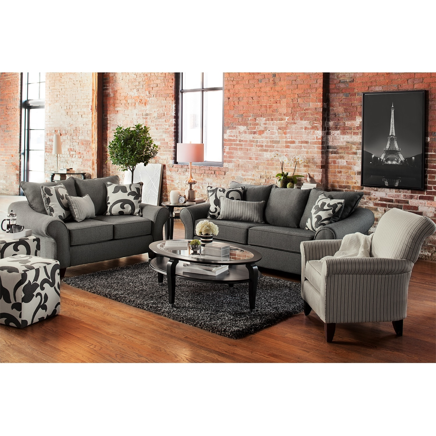 Colette gray sofa value city furniture for Sofa and 2 chairs living room